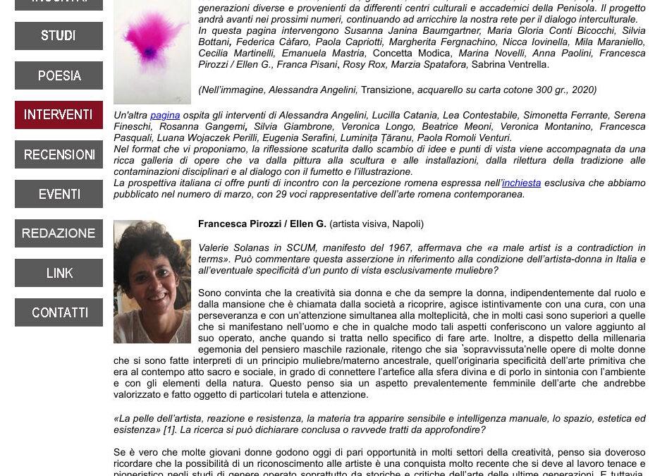 Intervista di G. Capone a Ellen G. su Orizzonti culturali italo-romeni